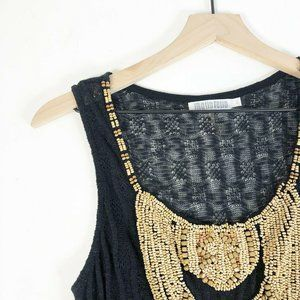 Monoreno Black Knit Beaded Dress L Scoop Neck
